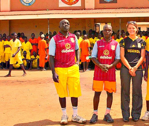 Jonathan Mugerwa (First on Left) with Ashton a volunteer from California at Luzira Maximum Security Prison
