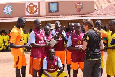 Jonathan (Squatting at the Forefront) of Ashton Villa FC , Luzira Prison Uganda Africa