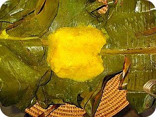 Steamed Matooke/Plantain in Banana Leaves in Basket
