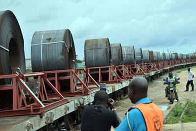Steel Rolls on Railway in Uganda , East Africa