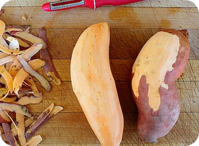 Peeled sweet potatoes in Africa