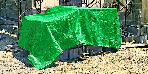 Tarpaulin Cover at Construction Site in Africa