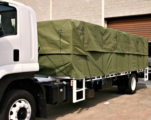 Green Tarpaulin Cover on Truck