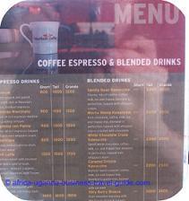 African Coffee Menu