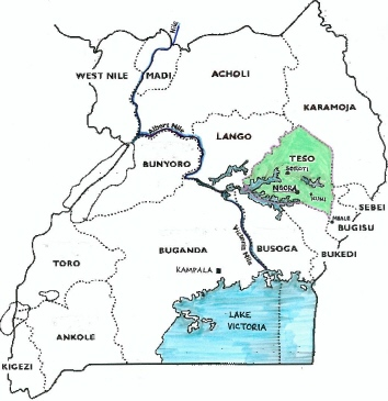 Map of Uganda with Teso Region