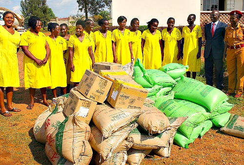 Receiving Gifts and Donations at Luzira Women Prisons Uganda , Africa.