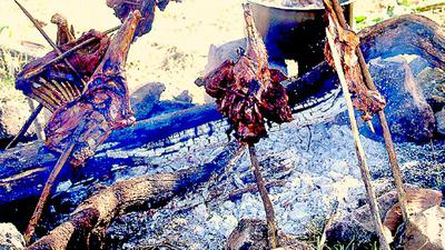 Goat Roasting with Temporary Barbecueing stove