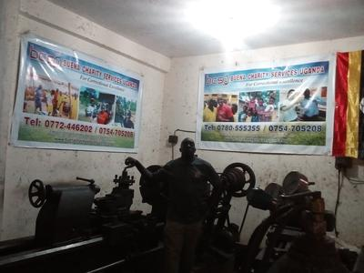 Jonathan Mugerwa at the Metal Fabrication Center Of Buena Charity Services