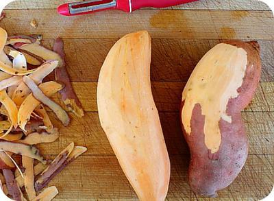 Peeled sweet potatoes in Africa
