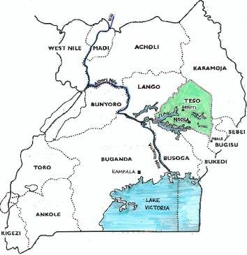 Map of Uganda with Teso Region